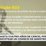 Obstaculizar un Consejo de ministros está penado con hasta a cuatro años de cárcel