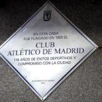 Una placa rememora el nacimiento del Atlético de Madrid en 1903