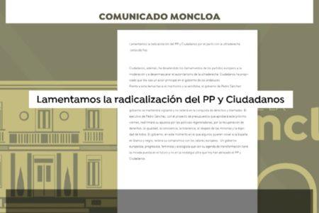 El Gobierno lamenta «la nostalgia ultra que hoy han abrazado PP y Ciudadanos»