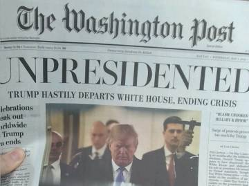 Una edición falsa de 'The Washington Post' anuncia la renuncia de Trump