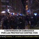 Un total de seis detenidos por una protesta contra un mitin de Vox en Zaragoza
