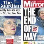 Así recoge la prensa británica los ocho rechazos del Parlamento a las alternativas al Brexit