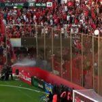 Nuevo bochorno en el fútbol argentino: lanzan un inodoro desde la grada