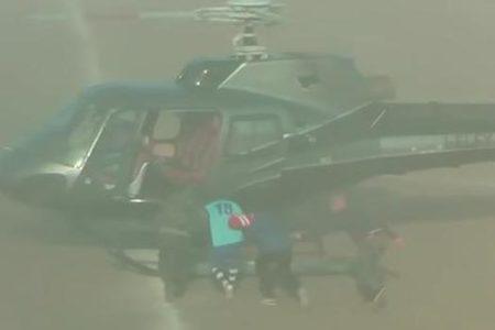 Un futbolista es «secuestrado» con un helicóptero en mitad de un partido