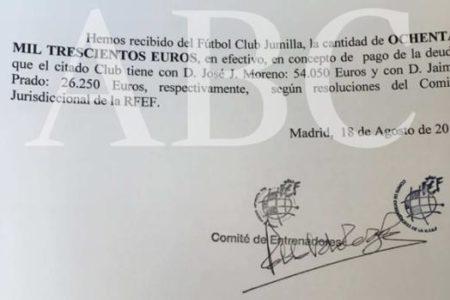 El Jumilla entregó 80.000 euros a la RFEF en billetes de 500 en la etapa de Villar